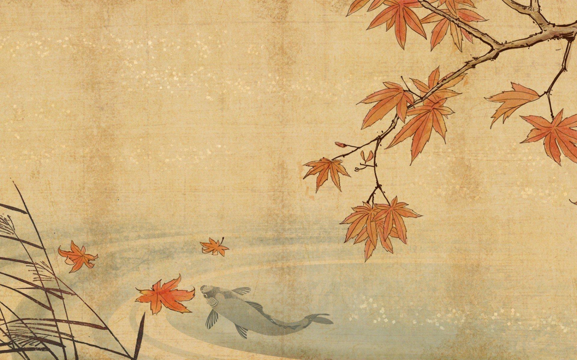 koi-fish-lake-water-leaf-autumn